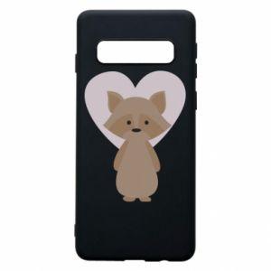 Etui na Samsung S10 Raccoon with heart
