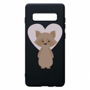 Etui na Samsung S10+ Raccoon with heart
