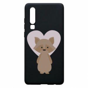 Etui na Huawei P30 Raccoon with heart