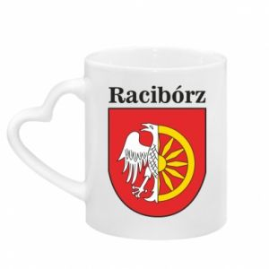 Mug with heart shaped handle Raciborz, emblem