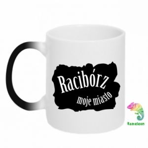 Chameleon mugs Inscription - Raciborz my city