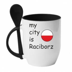Kubek z ceramiczną łyżeczką My city is Raciborz