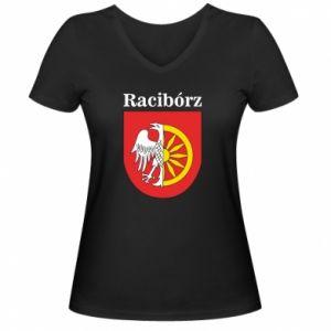 Damska koszulka V-neck Racibórz, herb - PrintSalon