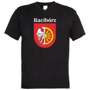 Męska koszulka V-neck Racibórz, herb - PrintSalon