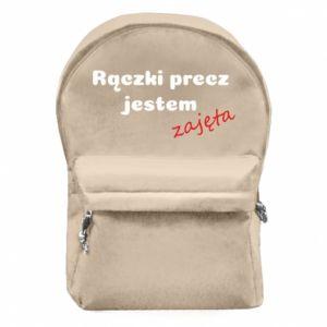 Plecak z przednią kieszenią Rączki precz jestem zajęta