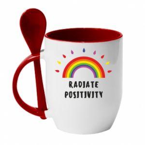 Kubek z ceramiczną łyżeczką Radiate positivity