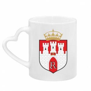 Mug with heart shaped handle Radom coat of arms