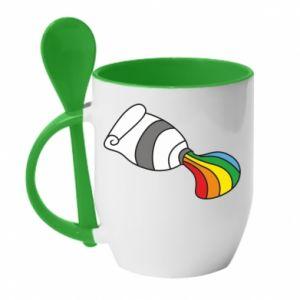 Kubek z ceramiczną łyżeczką Rainbow colors