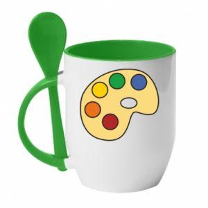 Mug with ceramic spoon Rainbow palette - PrintSalon