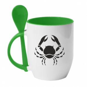 Mug with ceramic spoon Cancer