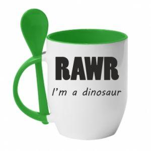 Kubek z ceramiczną łyżeczką Rawr. I'm a dinosaur