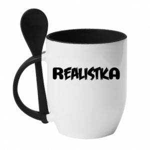 Mug with ceramic spoon Realist - PrintSalon