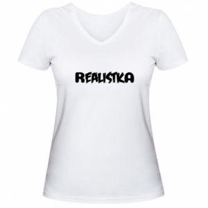 Women's V-neck t-shirt Realist - PrintSalon