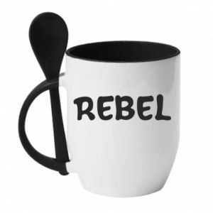 Kubek z ceramiczną łyżeczką Rebel