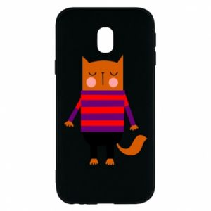 Phone case for Samsung J3 2017 Red cat in a sweater - PrintSalon
