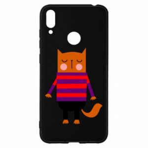 Etui na Huawei Y7 2019 Red cat in a sweater