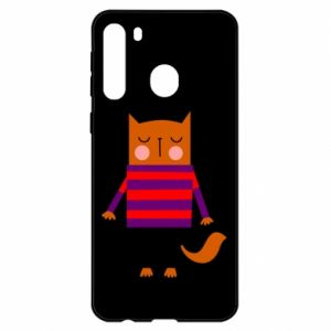 Etui na Samsung A21 Red cat in a sweater