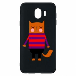 Phone case for Samsung J4 Red cat in a sweater - PrintSalon