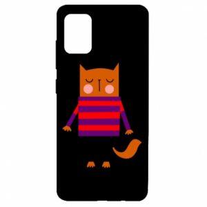 Etui na Samsung A51 Red cat in a sweater