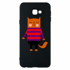 Phone case for Samsung J4 Plus 2018 Red cat in a sweater - PrintSalon