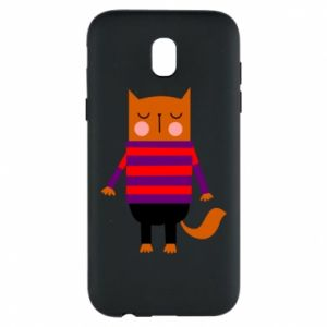 Phone case for Samsung J5 2017 Red cat in a sweater - PrintSalon