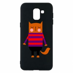 Phone case for Samsung J6 Red cat in a sweater - PrintSalon