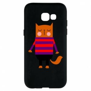 Phone case for Samsung A5 2017 Red cat in a sweater - PrintSalon