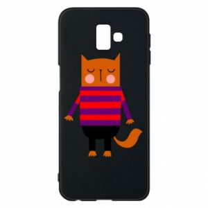 Phone case for Samsung J6 Plus 2018 Red cat in a sweater - PrintSalon