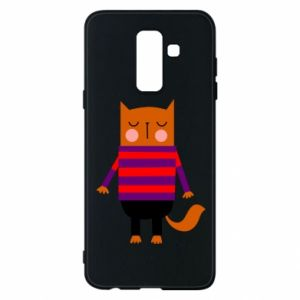Phone case for Samsung A6+ 2018 Red cat in a sweater - PrintSalon