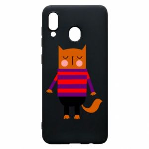 Phone case for Samsung A20 Red cat in a sweater - PrintSalon