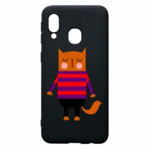 Phone case for Samsung A40 Red cat in a sweater - PrintSalon