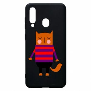 Phone case for Samsung A60 Red cat in a sweater - PrintSalon