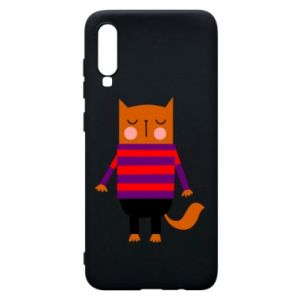 Phone case for Samsung A70 Red cat in a sweater - PrintSalon