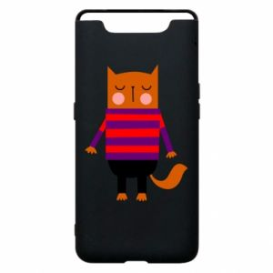 Phone case for Samsung A80 Red cat in a sweater - PrintSalon