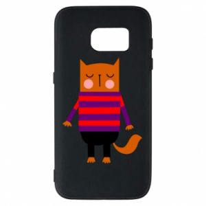 Phone case for Samsung S7 Red cat in a sweater - PrintSalon