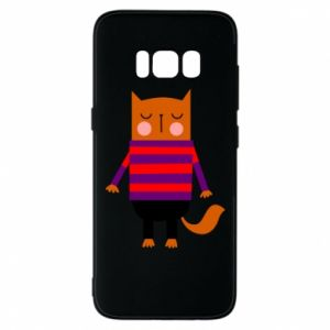 Phone case for Samsung S8 Red cat in a sweater - PrintSalon