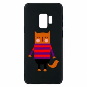 Phone case for Samsung S9 Red cat in a sweater - PrintSalon