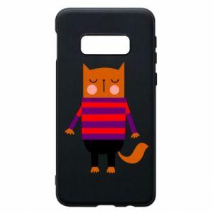 Phone case for Samsung S10e Red cat in a sweater - PrintSalon