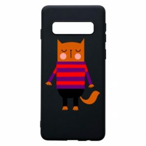 Phone case for Samsung S10 Red cat in a sweater - PrintSalon