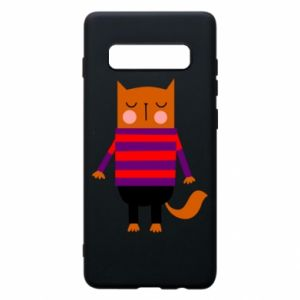 Phone case for Samsung S10+ Red cat in a sweater - PrintSalon