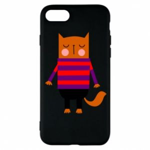 Phone case for iPhone 7 Red cat in a sweater - PrintSalon