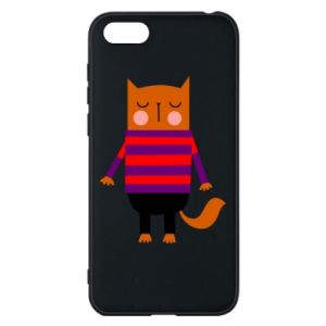 Phone case for Huawei Y5 2018 Red cat in a sweater - PrintSalon