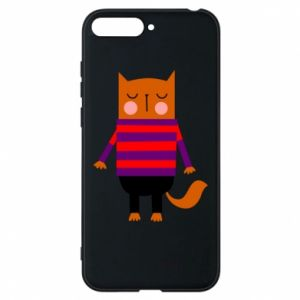 Phone case for Huawei Y6 2018 Red cat in a sweater - PrintSalon