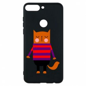 Phone case for Huawei Y7 Prime 2018 Red cat in a sweater - PrintSalon
