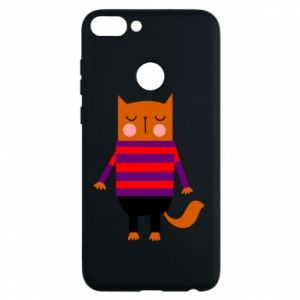 Phone case for Huawei P Smart Red cat in a sweater - PrintSalon