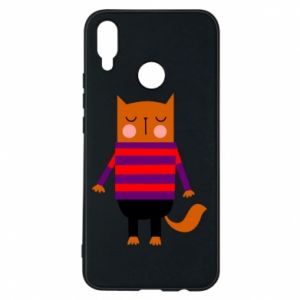 Phone case for Huawei P Smart Plus Red cat in a sweater - PrintSalon