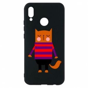 Phone case for Huawei P20 Lite Red cat in a sweater - PrintSalon