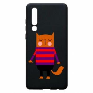 Phone case for Huawei P30 Red cat in a sweater - PrintSalon