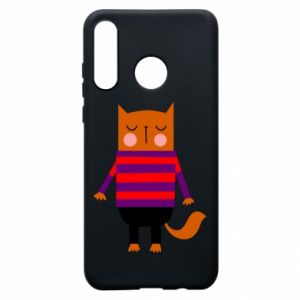 Etui na Huawei P30 Lite Red cat in a sweater