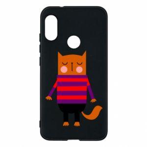 Phone case for Mi A2 Lite Red cat in a sweater - PrintSalon